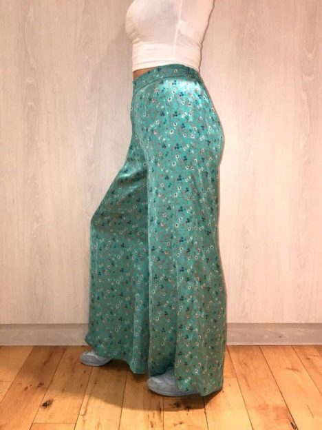 Green Silk Flared Trousers