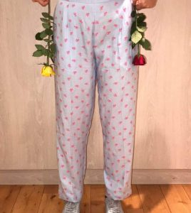 Flower Straight Leg Cotton Trousers