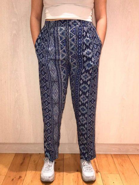 Aztec Straight Leg Cotton Trousers