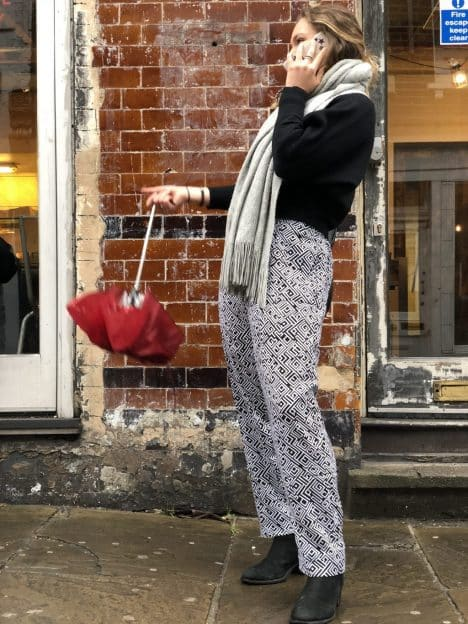 Black and White Straight Leg Trousers